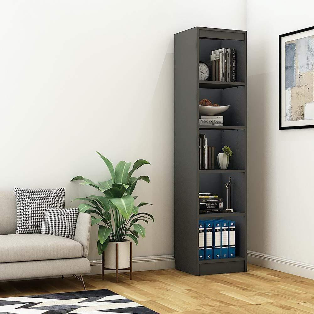 "Alpha Bookshelf & Storage Cabinet with 5 shelf, 67"" high (Tower)- Slate Grey *Free Installation* - A10 SHOP"