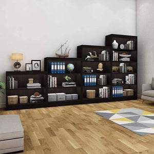 "Alpha Bookshelves & Storage Cabinets-Set of 4 (67""+54""+42""+30"") - Classic Wenge *Free Installation* Storage Unit - A10 SHOP"