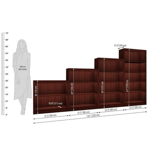 "Alpha Bookshelves & Storage Cabinets-Set of 4 (67""+54""+42""+30"")- Mahogany *Free Installation* - A10 SHOP"