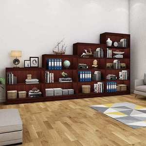 "Alpha Bookshelves & Storage Cabinets-Set of 4 (67""+54""+42""+30"")- Mahogany *Free Installation* Storage Unit - A10 SHOP"
