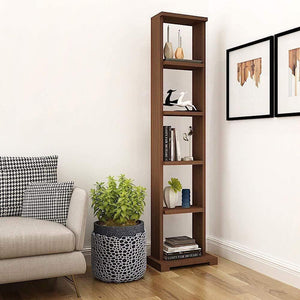 "Alpha Lite Bookshelf & Display Cabinet with 5 shelf, 54"" high -Acacia Walnut Storage Unit - A10 SHOP"