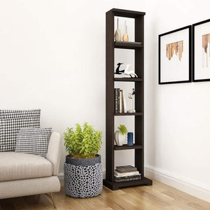 "Alpha Lite Bookshelf & Display Cabinet with 5 shelf, 54"" high -Classic Wenge Storage Unit - A10 SHOP"