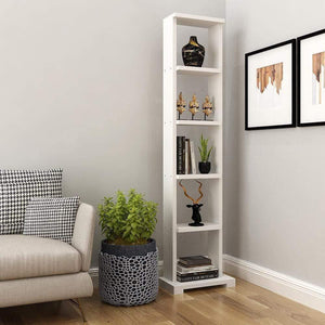 "Alpha Lite Bookshelf & Display Cabinet with 5 shelf, 54"" high -Frosty White Bookshelf - A10 SHOP"