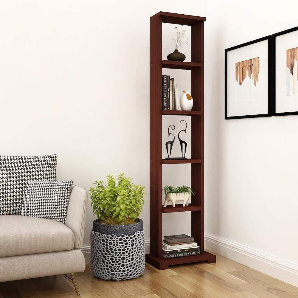 "Alpha Lite Bookshelf & Display Cabinet with 5 shelf, 54"" high - Mahogany - A10 SHOP"
