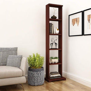 "Alpha Lite Bookshelf & Display Cabinet with 5 shelf, 54"" high - Mahogany Storage Unit - A10 SHOP"