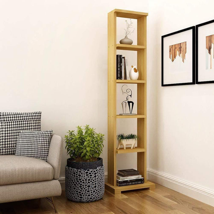 "Alpha Lite Bookshelf & Display Cabinet with 5 shelf, 54"" high -Misty Oak"