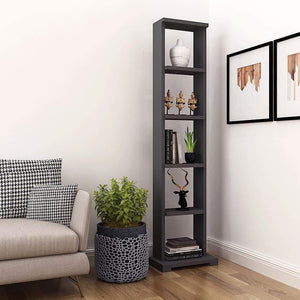 "Alpha Lite Bookshelf & Display Cabinet with 5 shelf, 54"" high - Slate Grey Storage Unit - A10 SHOP"