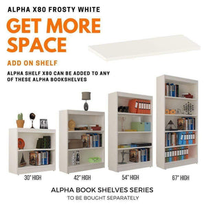 "Alpha Shelf X80 - Add on for Alpha Bookshelf - 30""/ 42""/ 54""/ 67"" , Frosty White (Single) Bookshelf - A10 SHOP"