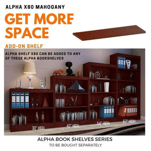 "Alpha Shelf X80 - Add on for Alpha Bookshelf - 30""/ 42""/ 54""/ 67"", Mahogany (Single) Bookshelf - A10 SHOP"