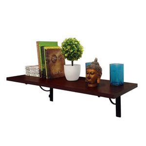 Alpha Shelf X80 Wall Hanging- Decor Shelf + 2 Wall Brackets (Mahogany) - A10 SHOP