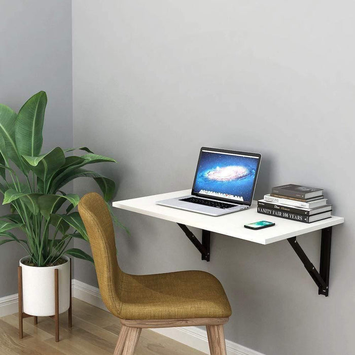Athena F80 Wall Mounted Folding Study Table, Computer/Laptop Table (50cm x 80cm -Frosty White *Free Installation*