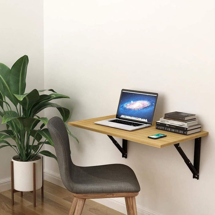 Athena F80 Wall Mounted Folding Study Table, Computer/Laptop Table (50cm x 80cm -Misty Oak) *Free Installation*