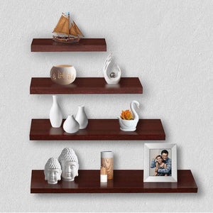 Delta S1 Home Decor Wall Shelf/Rack-Set of 4 (Matt Finish) (Mahogany) - A10 SHOP