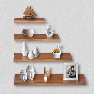 Delta S1 Home Decor Wall Shelf/Rack-Set of 4 (Matt Finish) (Walnut) - A10 SHOP