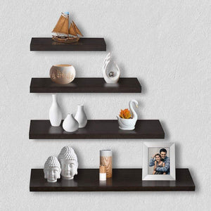 Delta S1 Home Decor Wall Shelf/Rack-Set of 4 (Matt Finish) (Wenge) - A10 SHOP