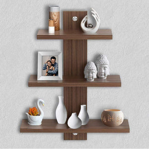 Delta S2 Home Decor Wall Shelf/Rack-Set of 3 (Matt Finish) (Walnut) - A10 SHOP