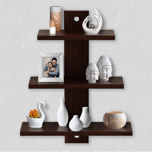 Delta S2 Home Decor Wall Shelf/Rack-Set of 3 (Matt Finish) (Wenge) - A10 SHOP