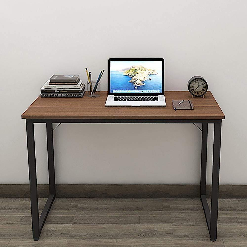 Helios T100 Modern Computer/Laptop Desk and Study Writing Table, Black Frame (100 cm x 50 cm, Acacia Walnut) - A10 SHOP