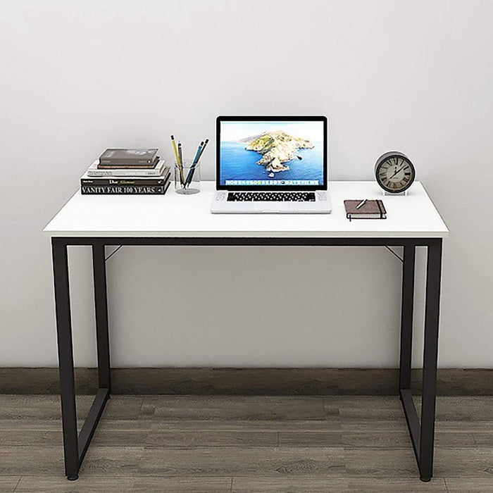 Helios T100 Modern Computer/Laptop Desk and Study Writing Table, Black Frame (100 cm x 50 cm, Frosty White)