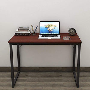 Helios T100 Modern Computer/Laptop Desk and Study Writing Table, Black Frame (100 cm x 50 cm, Mahogany) - A10 SHOP
