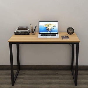 Helios T100 Modern Computer/Laptop Desk and Study Writing Table, Black Frame (100 cm x 50 cm, Misty Oak) - A10 SHOP