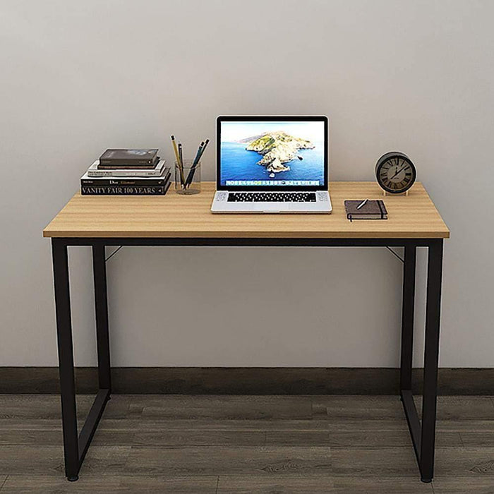 Helios T100 Modern Computer/Laptop Desk and Study Writing Table, Black Frame (100 cm x 50 cm, Misty Oak)