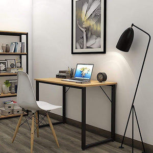 Helios T100 Modern Computer/Laptop Desk and Study Writing Table, Black Frame (100 cm x 50 cm, Misty Oak) Tables - A10 SHOP