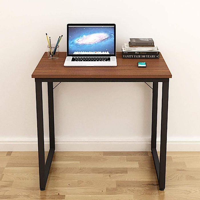 Helios T80 Modern Computer/Laptop Desk and Study Writing Table, Black Frame (80 cm x 50 cm, Acacia Walnut)