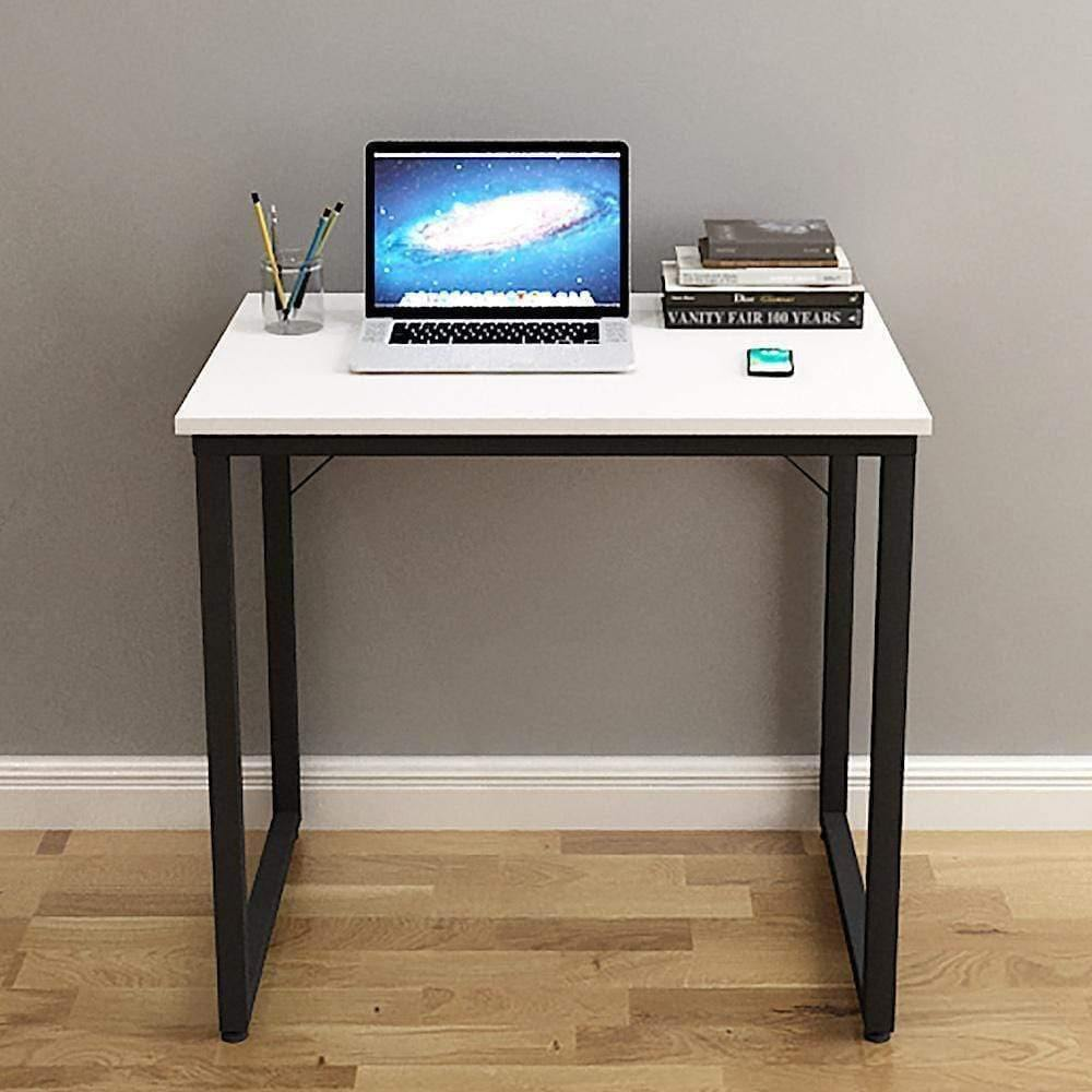 Helios T80 Modern Computer/Laptop Desk and Study Writing Table, Black Frame (80 cm x 50 cm, Frosty White) - A10 SHOP