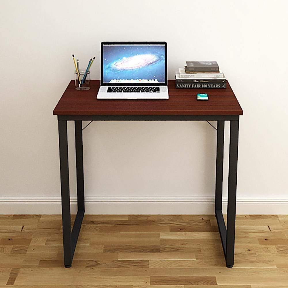Helios T80 Modern Computer/Laptop Desk and Study Writing Table, Black Frame (80 cm x 50 cm, Mahogany) - A10 SHOP