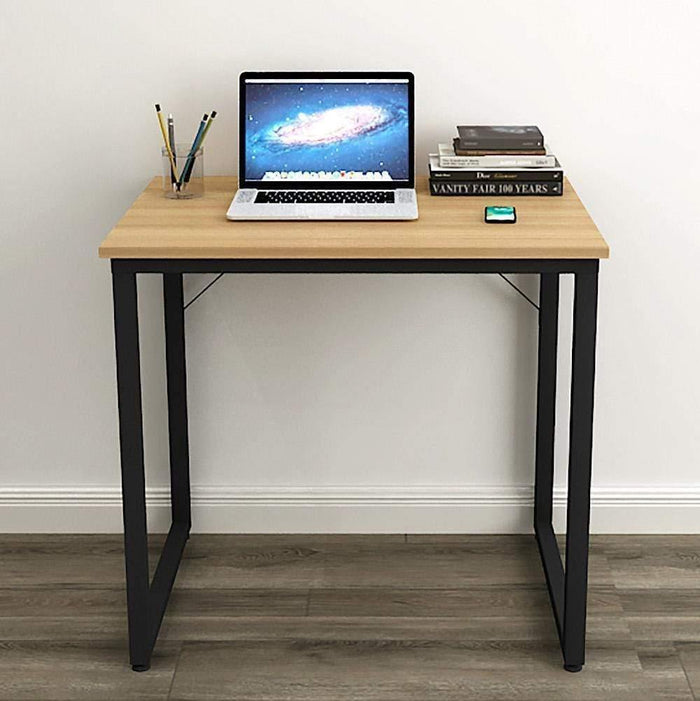 Helios T80 Modern Computer/Laptop Desk and Study Writing Table, Black Frame (80 cm x 50 cm, Misty Oak)