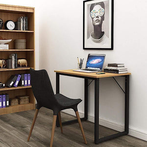 Helios T80 Modern Computer/Laptop Desk and Study Writing Table, Black Frame (80 cm x 50 cm, Misty Oak) Tables - A10 SHOP