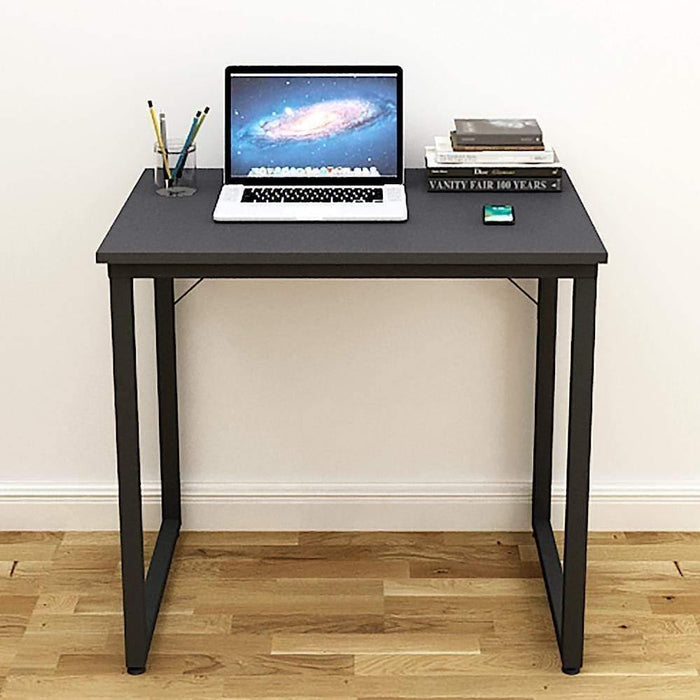 Helios T80 Modern Computer/Laptop Desk and Study Writing Table, Black Frame (80 cm x 50 cm, Slate Grey)