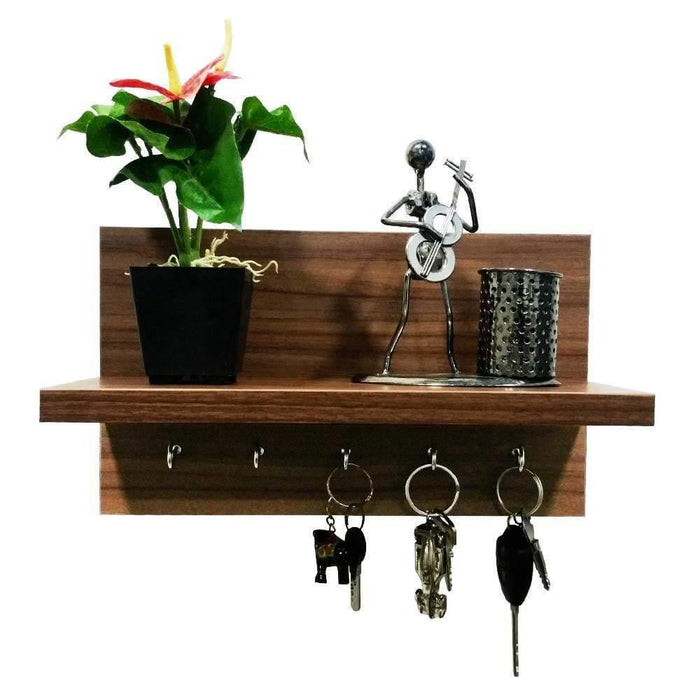 Omega 6 Wall Mounted Decor Shelf with Key Hooks- Walnut Finish