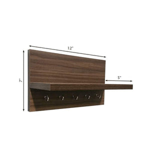 Omega 6 Wall Mounted Decor Shelf with Key Hooks- Walnut Finish - A10 SHOP