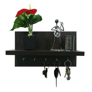 Omega 6 Wall Mounted Decor Shelf with Key Hooks- Wenge Finish - A10 SHOP