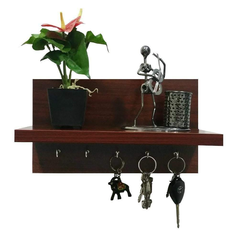 Omega 6 Wooden Key Holder With Wall Decor Shelf, 5 Key Hooks- Mahogany Finish - A10 SHOP