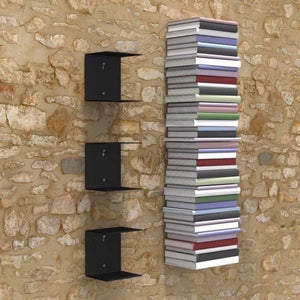 Zeta Metal Shelves Invisible Wall Mount Bookshelves- Black (Set of 3) Storage Units - A10 SHOP