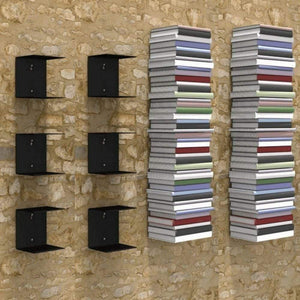 Zeta Metal Shelves Invisible Wall Mount Bookshelves- Black (Set of 6) Storage Units - A10 SHOP