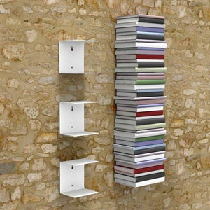 Zeta Metal Shelves Invisible Wall Mount Bookshelves- White (Set of 3) Storage Units - A10 SHOP