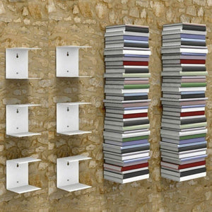 Zeta Metal Shelves Invisible Wall Mount Bookshelves- White (Set of 6) - A10 SHOP