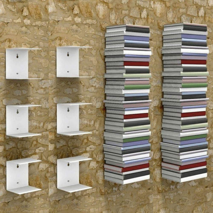 Zeta Metal Shelves Invisible Wall Mount Bookshelves- White (Set of 6)