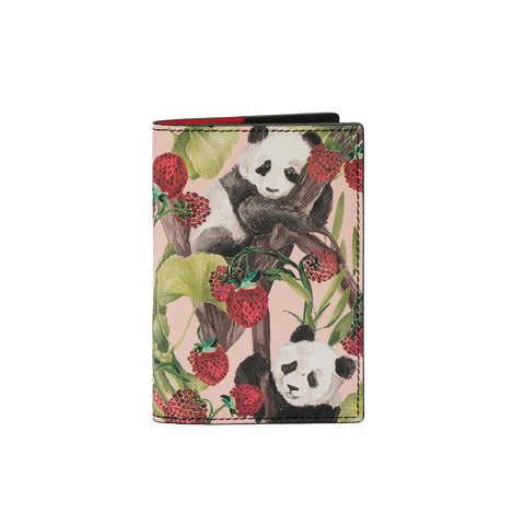 Fonfique Gemma Mini Düzenleyici Pasaport Kılıfı Pasaport Cover Mini Organizer Panda Berry Çilekli Panda Çilek Strawberry Animal Funny Hediye Gift