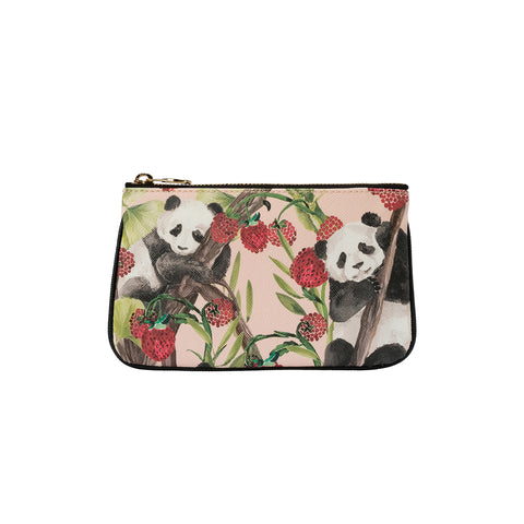Fonfique Lily Mini Poşet Lily Mini Clutch Para Çantası Money Bag Panda Berry Çilekli Panda Çilek Strawberry Pembe Pink Hediye Gift