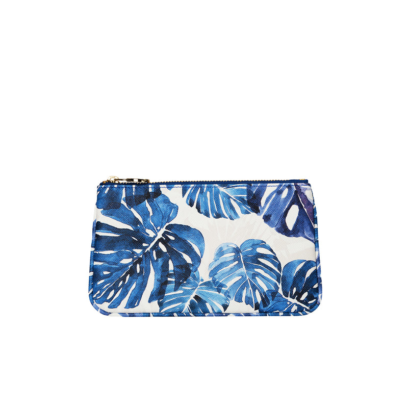 fonfique lily mini poşet mini clutch para çantası money bag devetabanı mavi monstera blue hediye gift