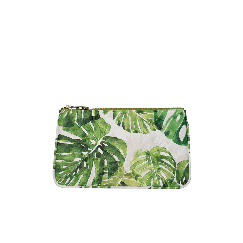 fonfique lily mini poşet mini clutch para çantası money bag  devetabanı yeşil monstera green hediye gift