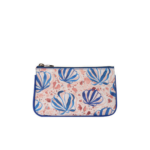 Fonfique Lily mini poşet lily mini clutch para çantası money bag shells blue istiridye mavi hediye gift