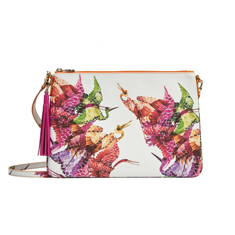 Merita Clutch in Bonbon Birds Pink - Orange