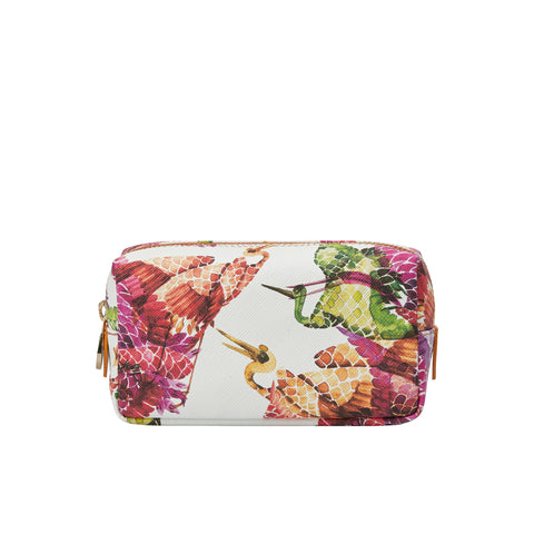 Mini Bacio Make-up Bag in Bonbon Birds Pink - Orange