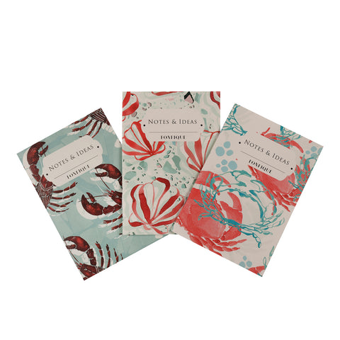 Pocket Notebooks - Set of Three - Lobster / Seashell Coral / Crab Coral